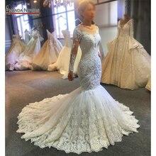 2020 tasarımcı mermaid düğün elbisesi amanda novias gerçek iş tam boncuk gelin makyaj
