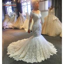 2020 مصمم حورية البحر فستان الزفاف أماندا نوفيس ريال عمل كامل الخرز الزفاف يشكلون