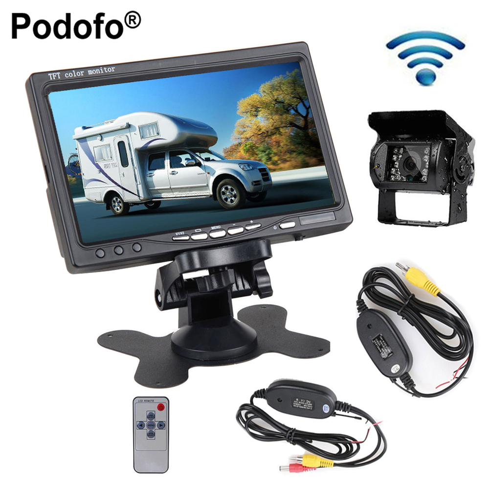 Podofo 12V 24V Wireless Car Rear View Backup Camera IR Night Vision Kit + 7 TFT LCD Monitor For Truck Trailers Campers Bus RV