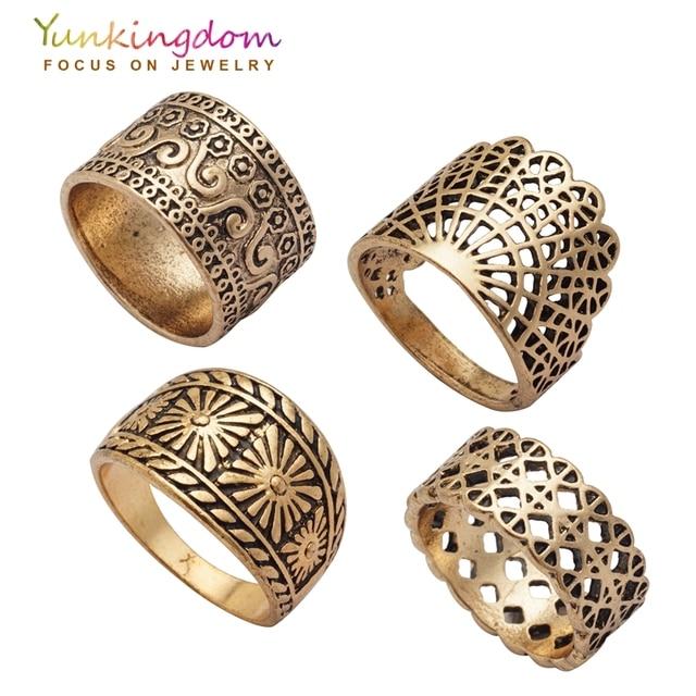 Yunkingdom New Vintage Ring Set Hollow Design Ancient Antique Gold