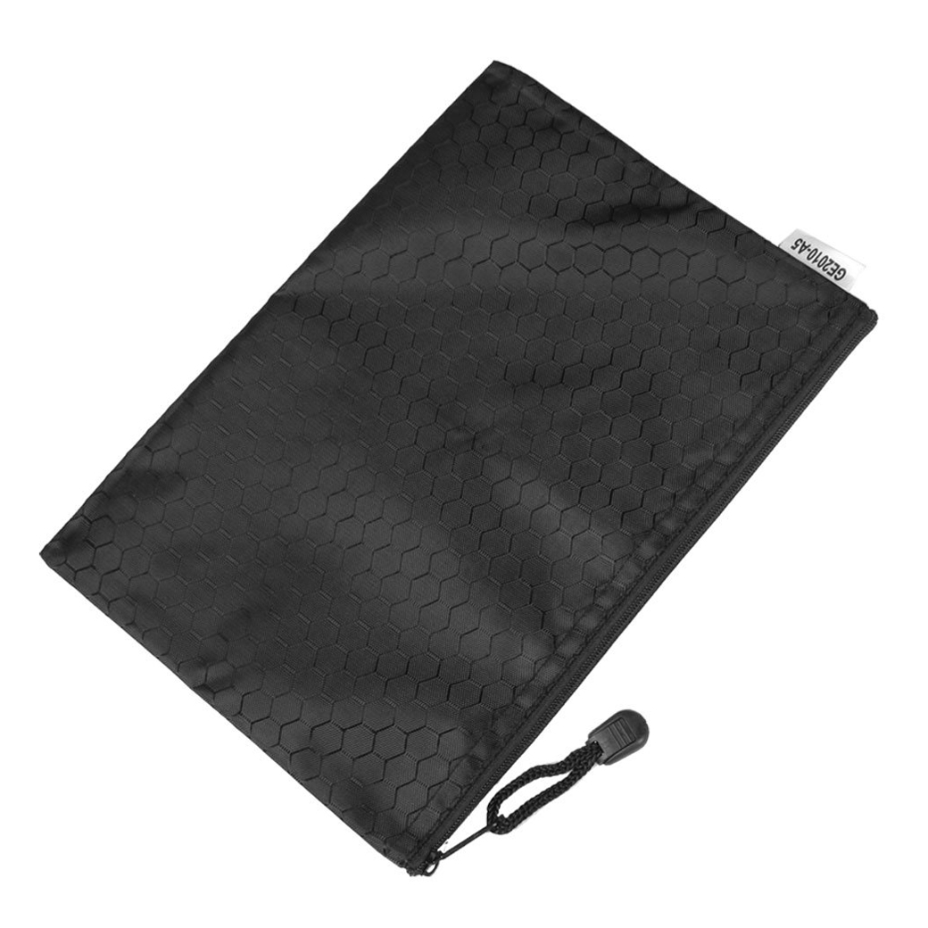 New And Hot Black Nylon Sexangle Printed A5 Paper Document Files Organizer Bag