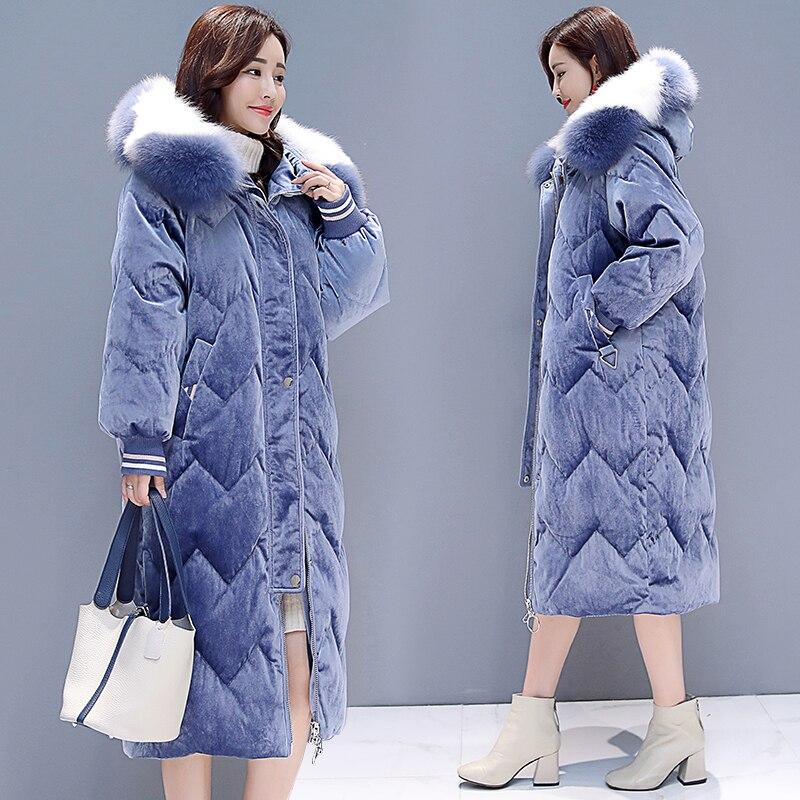 pink Hiver blue Manteau Capuche Femmes Coton B992 La Velours Épais Outwear De À Matelassé Parka Plus Long Veste Col Fourrure Taille Puffer Black 2018 Chaud gfqSdAxq