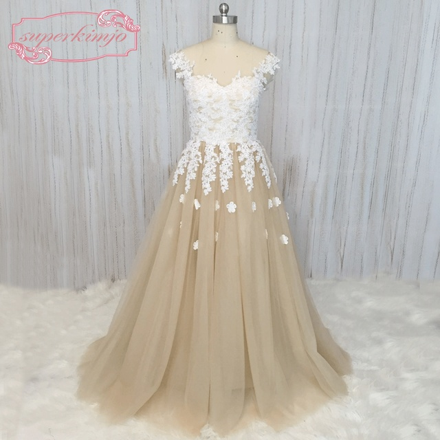 SuperKimJo 2018 Real Photo Elegant Prom Dresses Long Champagne Lace  Applique Prom Gown 3D Flowers Vestido De Festa Longo 34f887009d1d