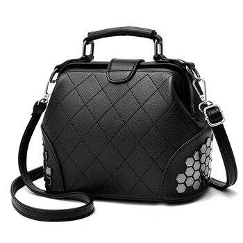 여성 캐주얼 리벳 패치 워크 메신저 어깨 가방에 대 한 디자이너 고품질 토트 백 브랜드 럭셔리 핸드백 여성 가방