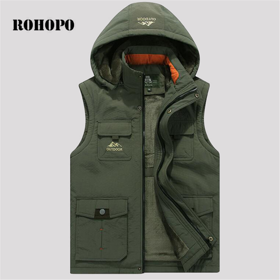 ROHOPO Winter fleece waistcoat Men,keep Warm Vest,Hooded Collar Vest,military sleeveless coat waterproof without sleeve parka