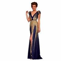 ZYLLGF Sparkle Sexy Bridesmaid Dress 2018 Long Crystal Beaded Backless Bridesmaid Gown Dress High Slit With Cap Sleeve SA140