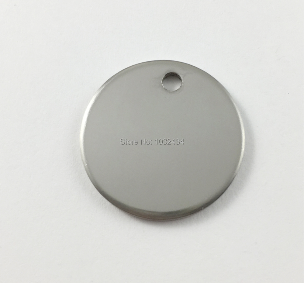 500pcs lot Round Stainless Steel Stamping Blank Dog Tags Pendants Silver Tone Tag Charms Fitting For