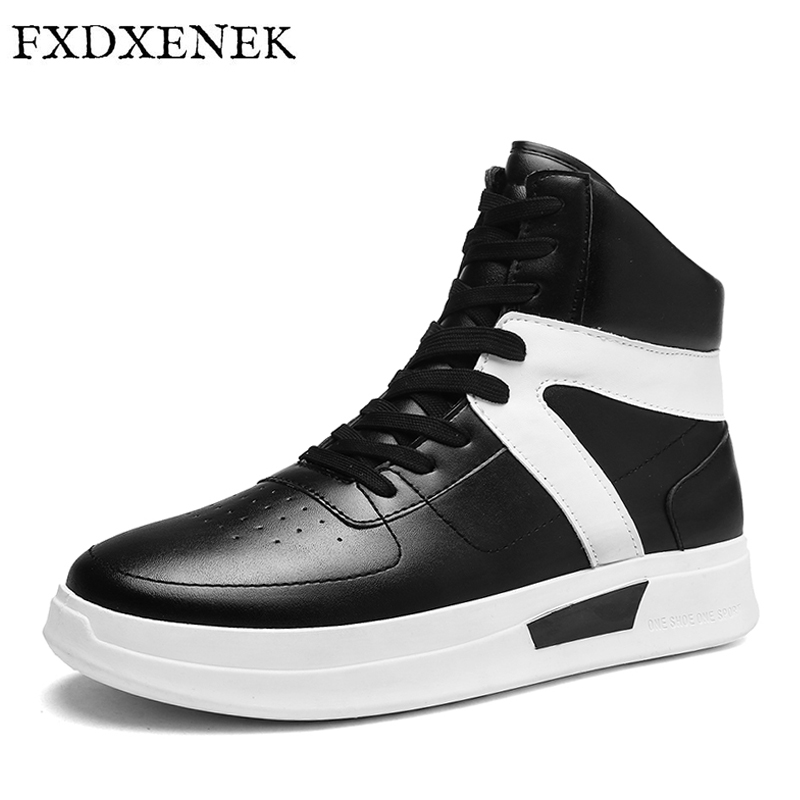 FXDXENEK 2017 Autumn Winter High Top Men Shoes Pu Leather Men Casual Flats Shoes Lace Up Platform Ankle Boots Men's Sneakers mulinsen latest lifestyle 2017 autumn winter men
