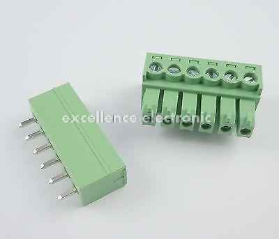 10 Pcs 3.81mm Pitch 6 Pin Straight Screw Pluggable Terminal Block Plug Connector pluggable terminal blocks 3 pos 10 16mm pitch plug 18 6 awg screw