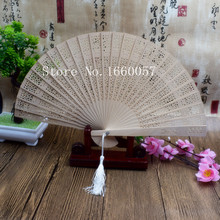 100pcs Personalized Wedding Favor Gift Sandalwood Cutout Fans Wood Color Hand Folding Fan +Customized Engraves Names & Date(China)