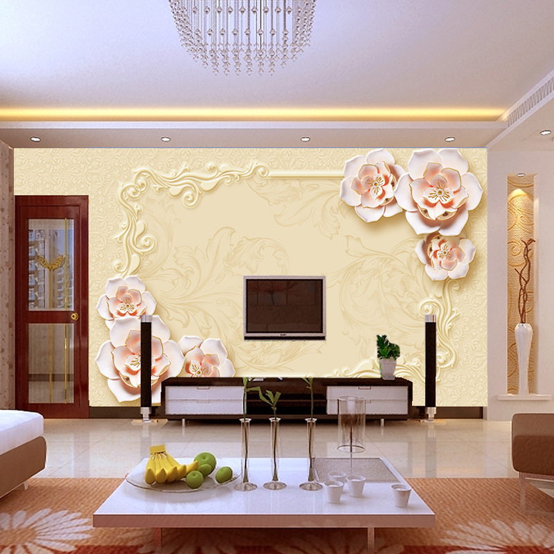 5D luxury floral embossed wallpaper mural for living room Sofa TV wall background decor modern style household improvement paper in Wallpapers from Home Improvement