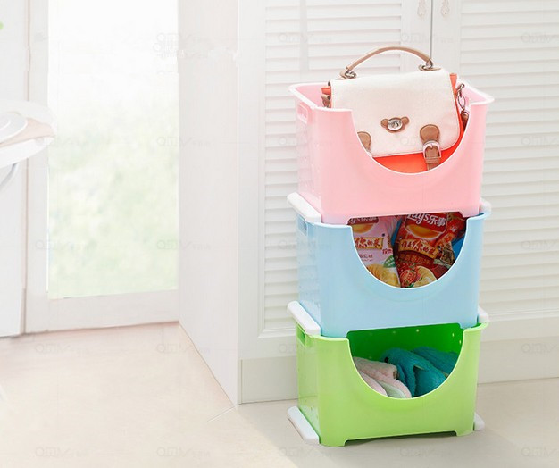 online shop 1pc stackable storage basket fruit and vegetable storage bins plastic stereo type kitchen storage boxes ok aliexpress mobile