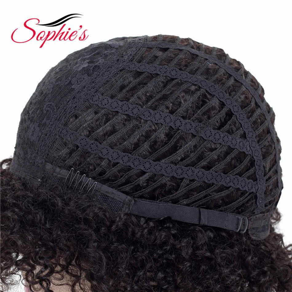 Sophie'nin kısa insan saçı peruk siyah kadınlar için Jerry kıvırcık insan saçı peruk olmayan Remy 4 renk brezilyalı saç Jerry peruk