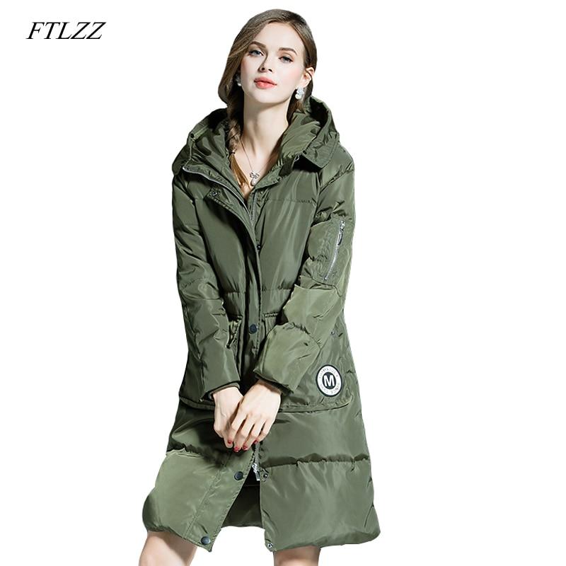 Ftlzz Winter Warm Coat mujeres pato Abrigos de plumas 90% Chaqueta larga femenina medio longitud Abrigos de plumas parka casual Outwear con capucha Parkas