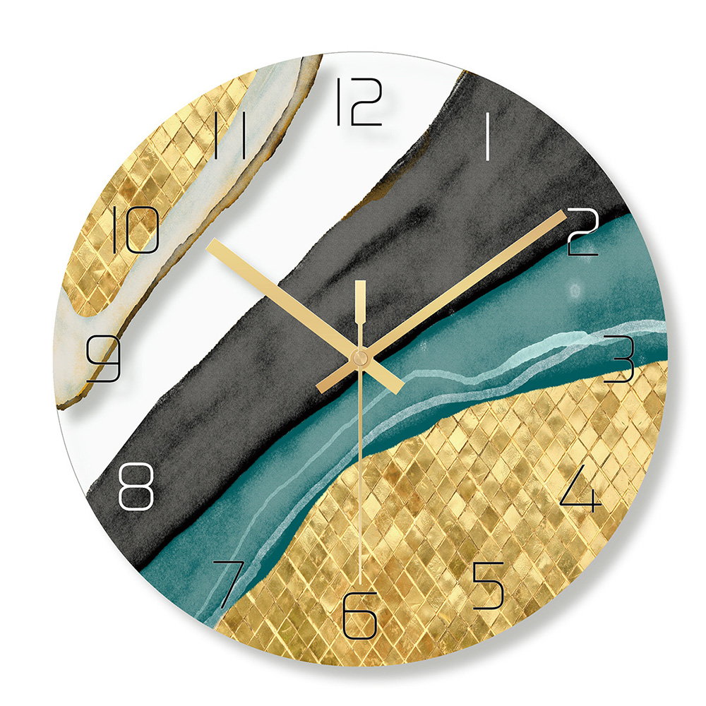 Nordic Decorative Marble Printing Wall Clocks Silent Quartz Circular Glass Hanging Clock Modern Design Multi colored Home Decor