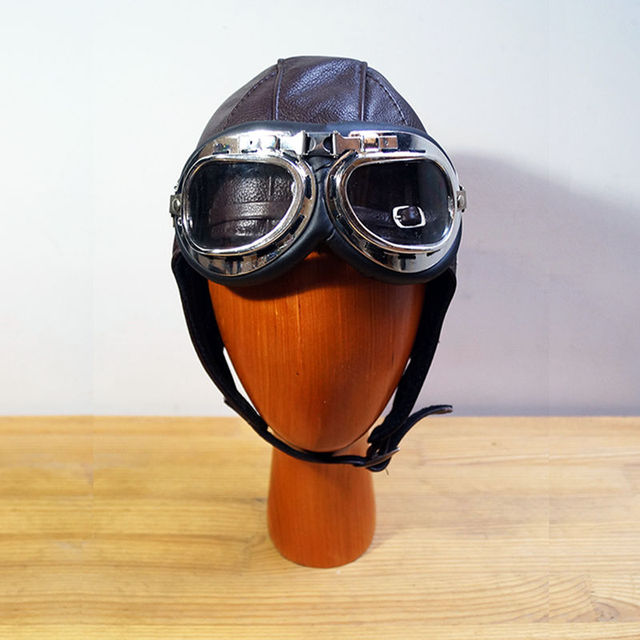 Retro leather goggles pilot cap Steam Punk hat  Mask Steampunk Daft Punk Metal Rivet Goggles Handmade Vintage  aviation helmet