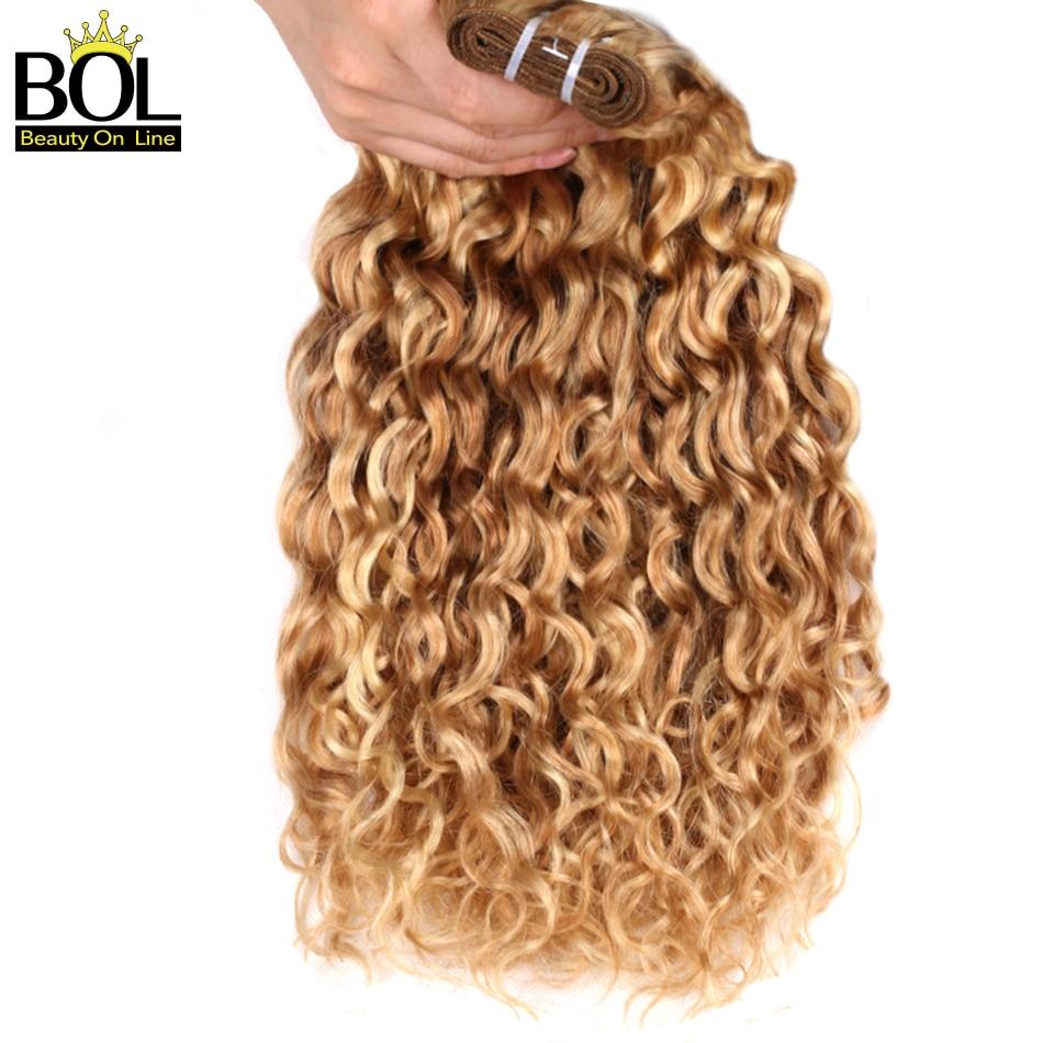 Ombre Brasilianisches Haar Wasser Welle 3 Bundles Highlight Blonde - Menschenhaar (für Schwarz)