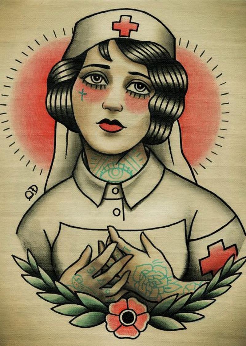 Direct selling Vintage Hairdresser Tattoos design about nurse Patterned Posters Kraft paper Wall Sticker Barber shop Home Decor