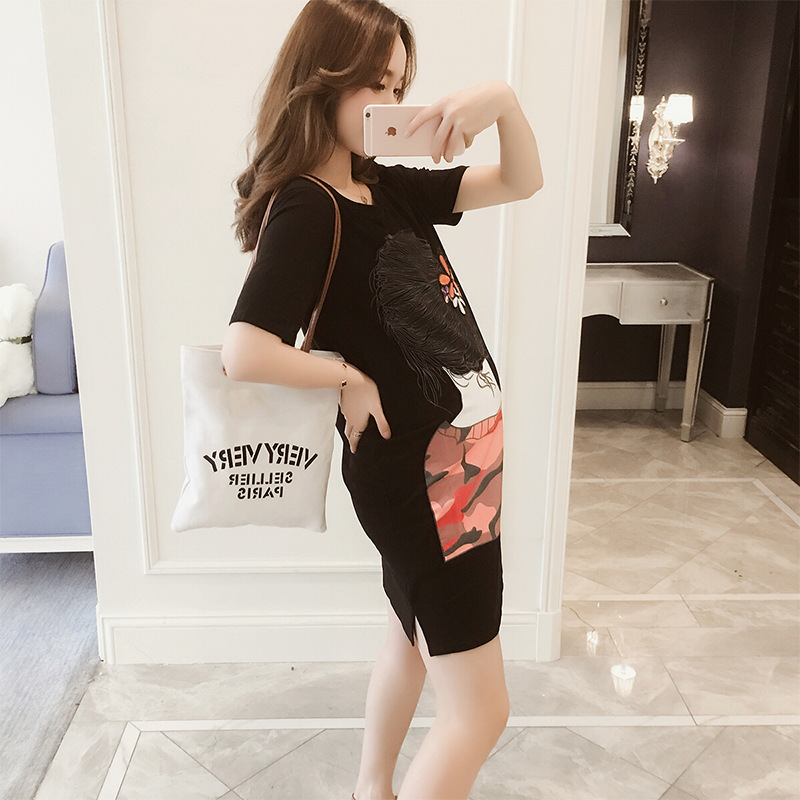 New Maternity Clothes Cotton fashion Korean Short-sleeved T-shirt dressSummer Straight Dress Casual Appliques Pregnant Clothing