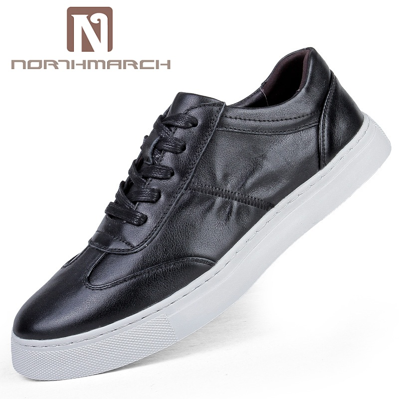 NORTHMARCH Men's Shoes Genuine Leather Casual Shoes Classic Fashion Lace Up Men Krasovki Flat Sneakers Men Tenis Masculino cirohuner leather casual men shoes male lace up flats black men krasovki flat heel sneakers tenis masculino comfortable shoes