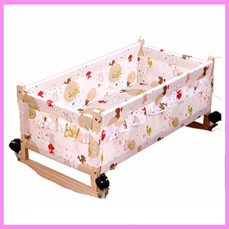 Wood Baby Cradle Crib Bed Newborn Sleeping Basket Baby Crib Bedding Baby Cradle and Bed Wood Newborn Baby Swing Crib with Wheel three colors good quality manual animal carton image baby bed baby cradle including mosquito net and sleeping basket