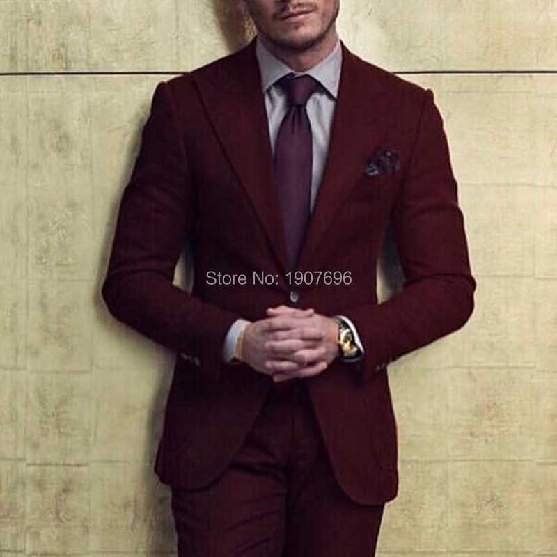 2018 Burgundy Groom Tuxedos for Men Suit Peaked Lapel Blazer Two Piece Jacket Pants Latest Style Male Suits in Suits from Men 39 s Clothing