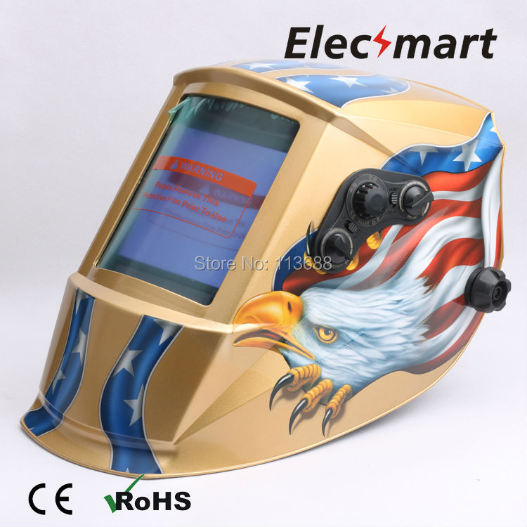 Big View Area Auto darkening welding helmet TIG MIG MMA electric welding mask/helmet/welder cap/lens for welding fire flames auto darkening solar powered welder stepless adjust mask skull lens for welding helmet tools machine free shipping