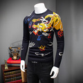 High Quality Sweater Mens 2016 Winter Thick Pull Homme Fashion Print Pullover Men O-Neck Slim Fit Casual Mens Jumpers 4XL-M Hot