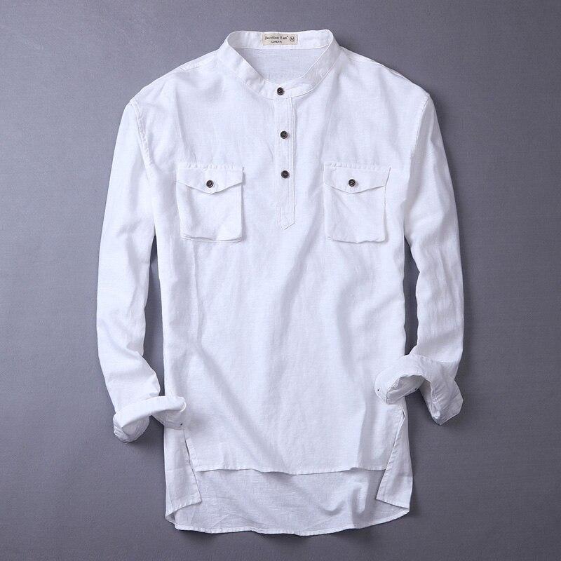 Spring Autumn stand collar thin breathable long-sleeved flax shirt men casual cotton linen shirts men designer mens shirt camisa