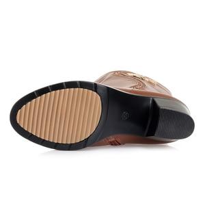 Image 5 - GKTINOO Botas de invierno hasta la rodilla para mujer, calzado cálido con piel de lana en el interior, zapatos de tacón alto de piel suave, Botas de nieve con plataforma