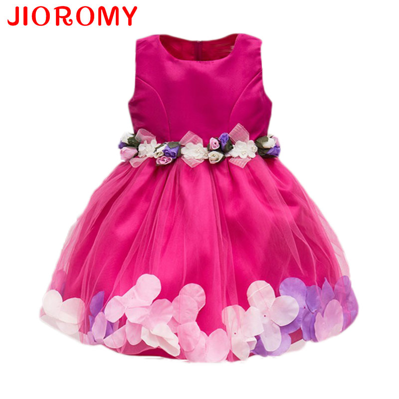 New Fashion Sequin Flower Dress Party Birthday Wedding Princess Toddler Neonate Vestiti Bambini Bambini Lycra Abiti k1