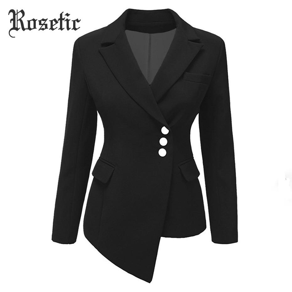 Rosetic Gothic Women Blazer Women Plus Size Black Blazer Mujer Women Blazers And Jackets 2019 Blazer Women Slim Short Suit Coat