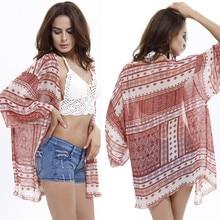 Bohemian Style Kimono Cardigan Women Plus Size Beach Cover Up Boho Print Loose Red Blouse Tops Female Coat