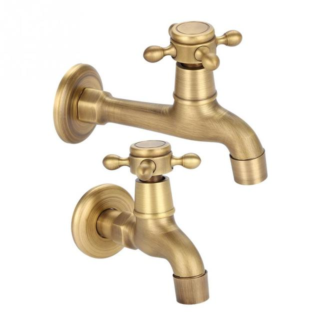 Vintage Solid Br Faucet Bathroom Wall Mounted Single Cold Water Tape For Kitchen Sink Mop Pool