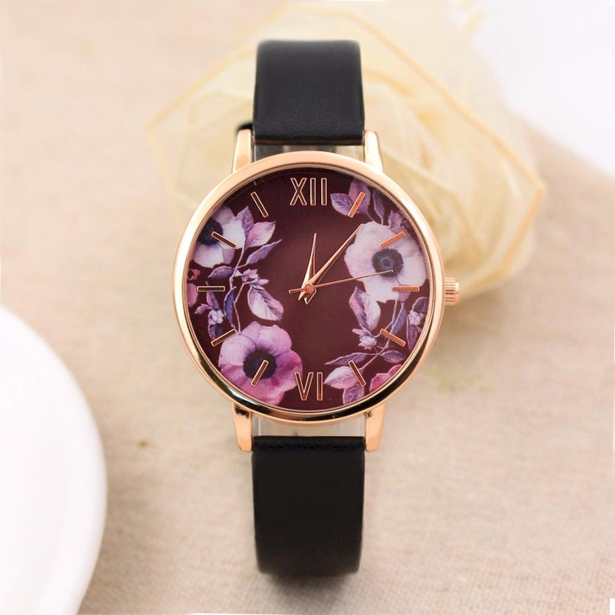 Women Watches Fashion Color Strap Flower Pattern Gold Dial Leather Band Quartz Analog Wrist Watch Womens Clock Reloj Mujer Aug15 2017 pink color wood watch women simple fashion analog casual bamboo wrist watch with genuine leather clock reloj de madera