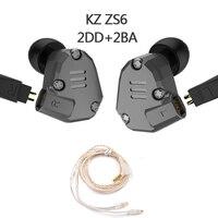 Brand KZ ZS6 2DD+2BA Hybrid In Ear Earphone HIFI DJ Monito Running Sport Earphones Earplug Headset Earbud Two Colors