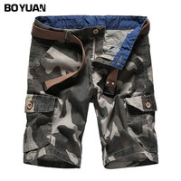 BOYUAN 2018 New Cargo Shorts Men Summer Top Design Camouflage Military Casual Shorts Homme Cotton Fashion Brand Clothing GB0113