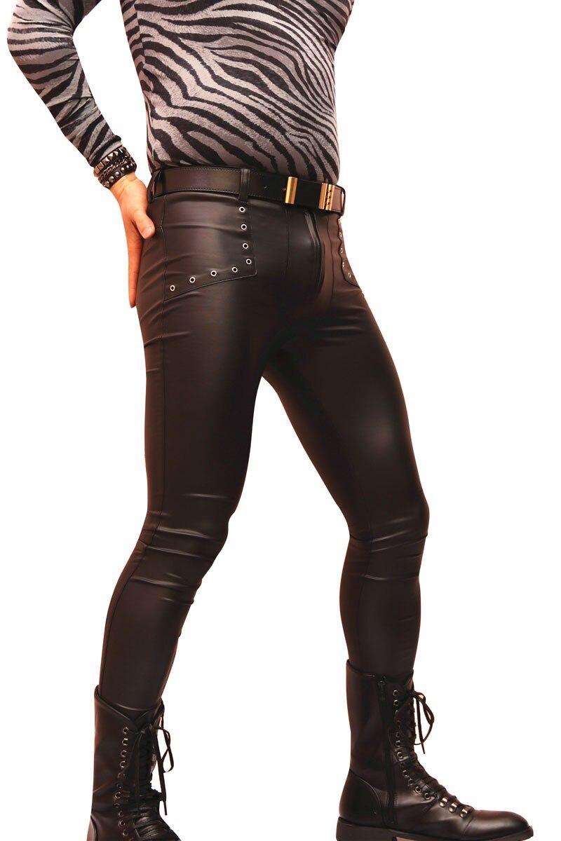 Новые Сексуальные Мужчины искусственная кожа матовые узкие брюки карандаш повседневные леггинсы тонкий обтягивающий прилегающий гей клуб танцевальная одежда FX1160