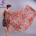 Дамы Длинный Шелковый Шарф Summer Beach Шаль Марка Ультра Большой шарфы Палантины Весна Зимняя Роза Orange Красный Бренд Шелковый Шарф мыс