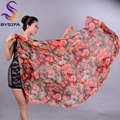 Ladies Long Silk Scarf Summer Beach Shawl Brand Ultra Large Scarves Wraps Spring Winter Rose Orange Red Brand Silk Scarf Cape