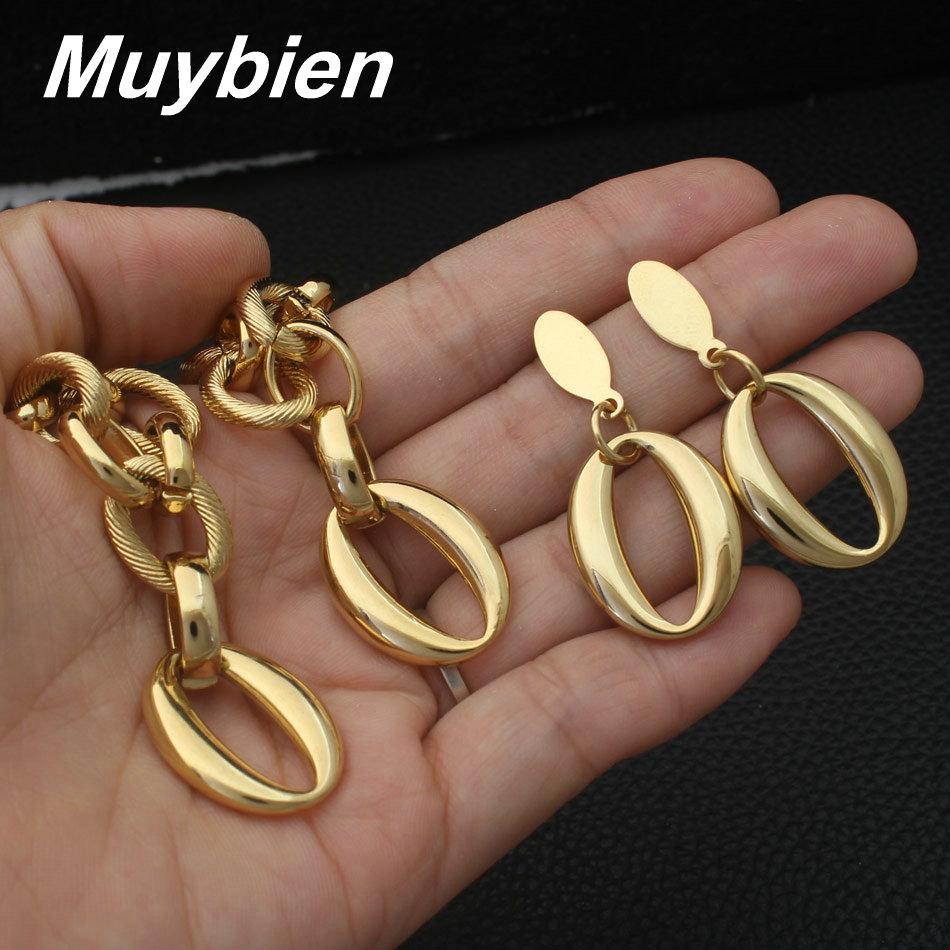 Nuevo diseño de acero inoxidable de oro color pulsera collar y - Bisutería - foto 3