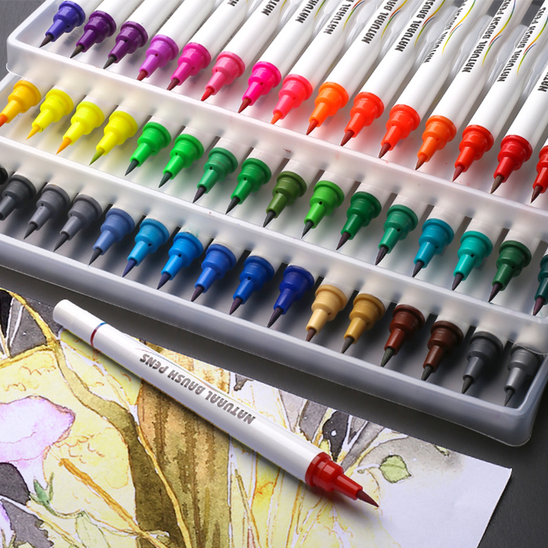 48 Color Water Based Ink Real Brush Pen With Soft Tips  Kids Adult Coloring, Art, Sketching, Calligraphy, Coloring Books, Manga