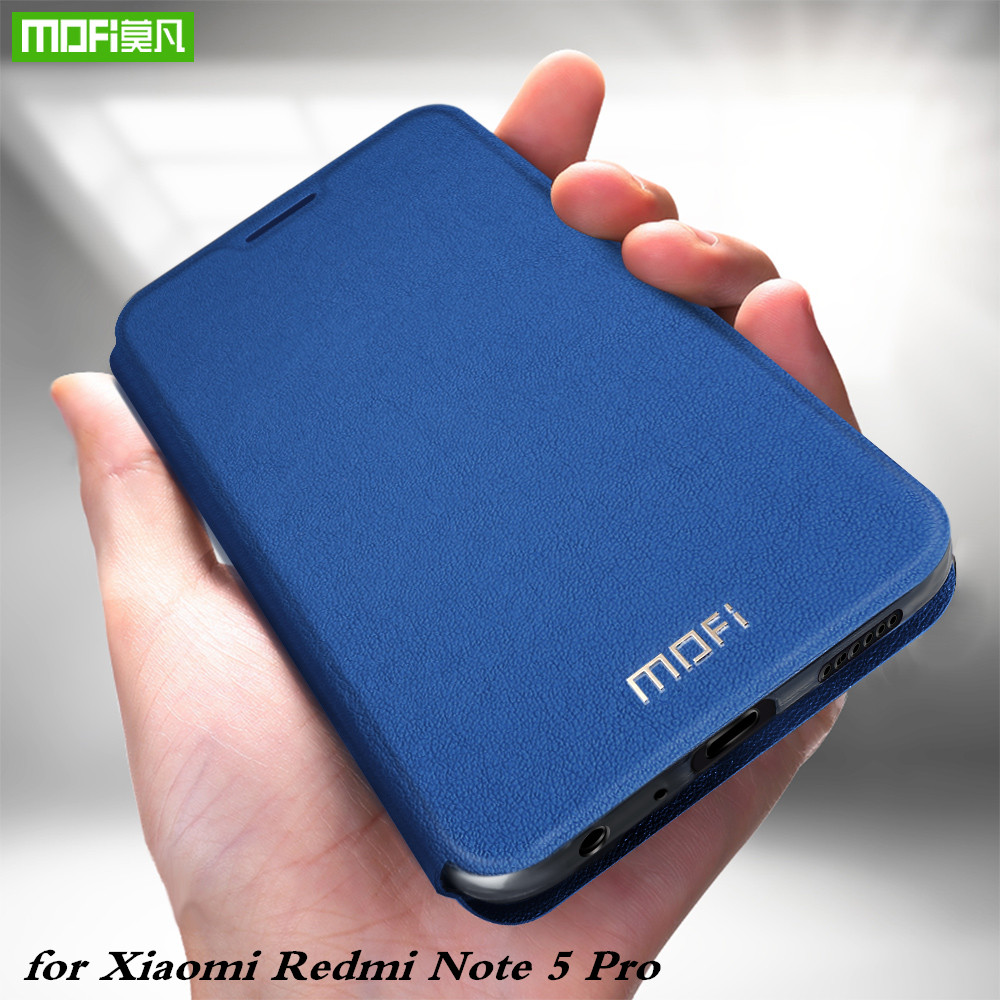 MOFi Original Flip Case for Redmi Note 5 Pro TPU Cover for Xiaomi mi PU Leather for Xiomi Note5 pro Silicone Book Conque Housing
