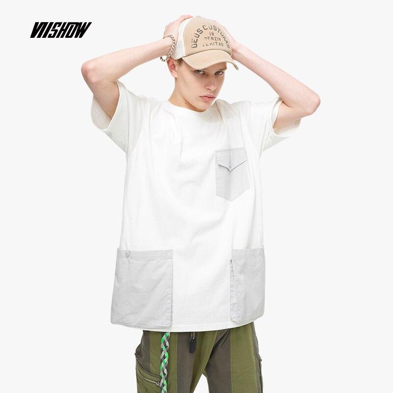 VIISHOW Streetwear Patchwork Men s T shirt Brand Casual Multi pocket t shirt men tops 2019