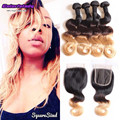 1b/4/27 ombre brazilian hair weave bundles peerless virgin hair company with closure 4 bundles body wave human hair soft weaves