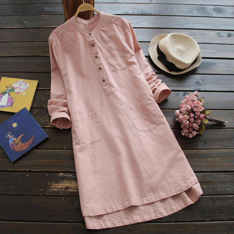 Plus Size ZANZEA 2019 Summer Women Cotton Linen Solid Dress Long Sleeve Pockets Buttons Baggy Casual Party Loose Mini Vestidos