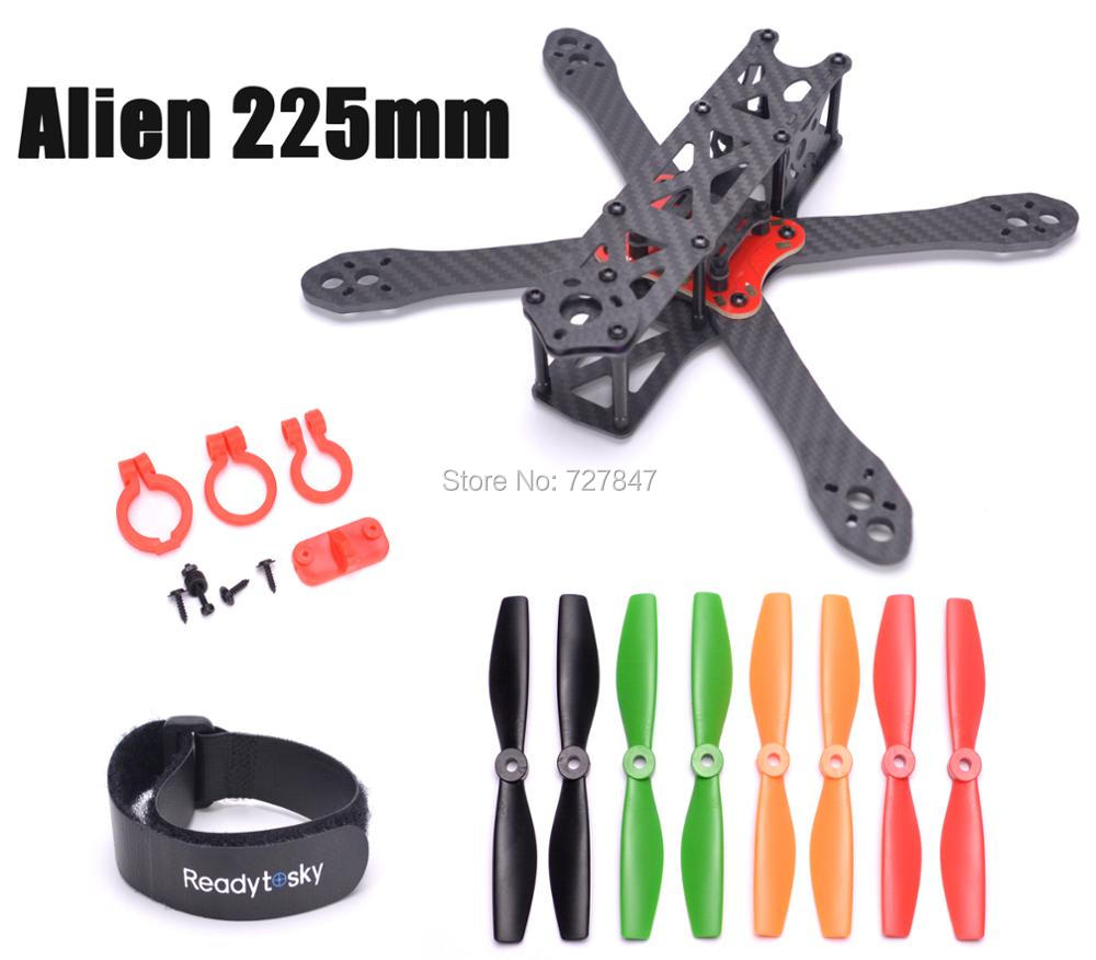 Alien FPV quadcopter 225 225mm pure carbon Fiber 4mm * 1.5mm * 2mm 5045 Propeller better than QAV-X Martian II 220 quadcopter