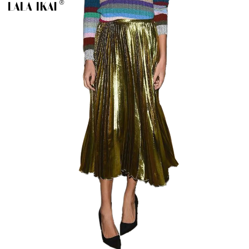 metallic color pleated skirts womens 2016 fashion maxi