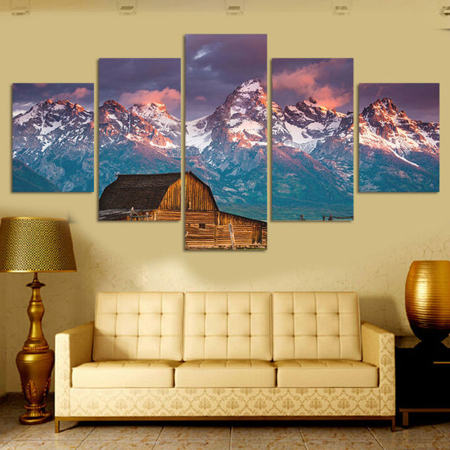5 Panels Snow mountains and Little house Canvas Prints for Living ...
