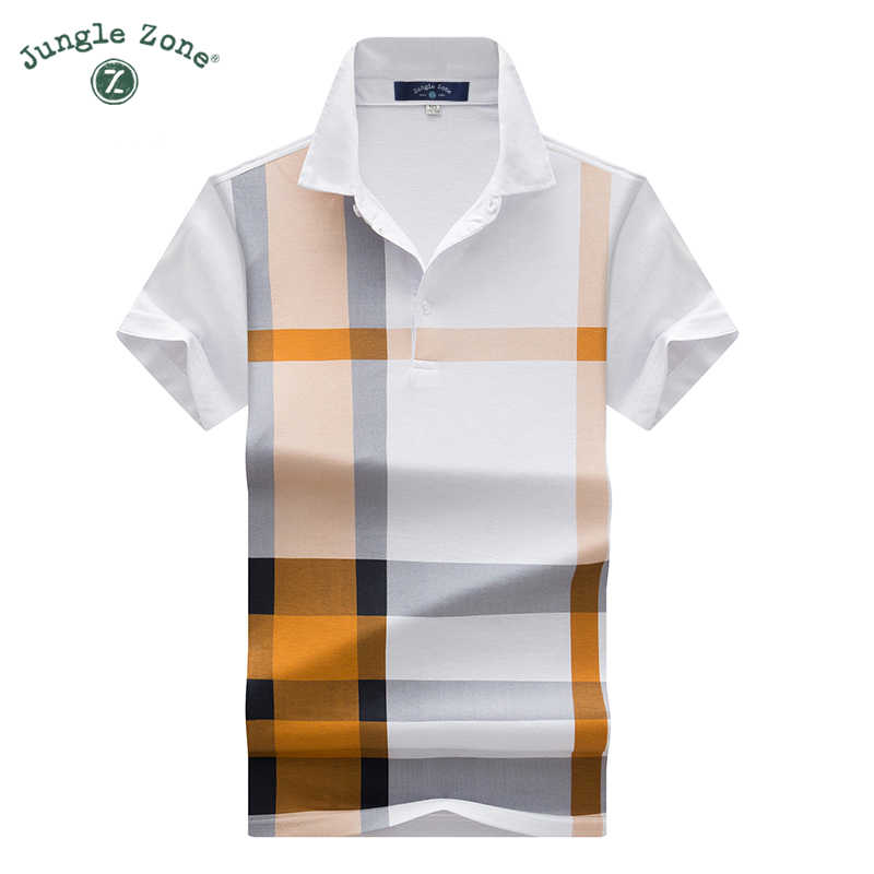 2018 thin models Men's plaid hit color print POLO Shirt men's short-sleeved lapel polo shirt brand Men polos casual poloshirts